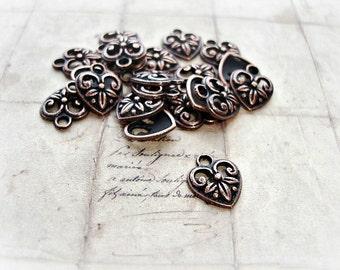 6 Antique Copper Heart Charms fleur de lis Pattern