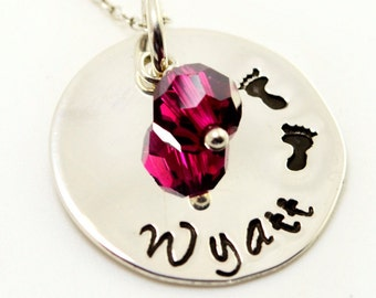 Little Footprints Personalized Mommy Necklace, Hand Stamped Necklace, Newborn, New Baby, Mothers Gift, Mother, Mommy,Mom