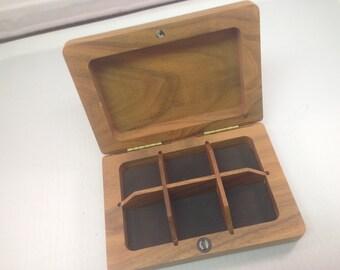 Vintage Walnut Wood Fly Box