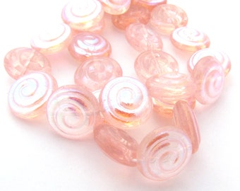 Rosaline Pink AB Czech Glass 13mm Spiral Disc Beads 10pc #943