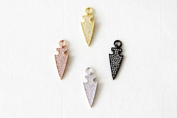 CZ Micro Pave 9x20mm Arrow Charm with Jump Ring