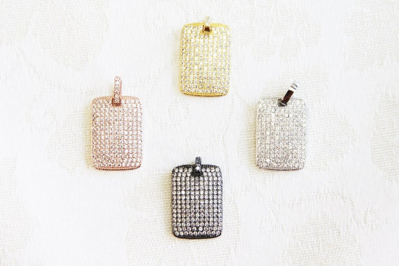 CZ Micro Pave 18x27mm  Rectangle Tag Pendant with CZ Bail