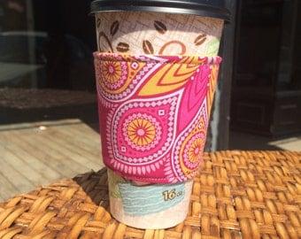 Reversible coffee cozy, eco-friendly coffee sleeve