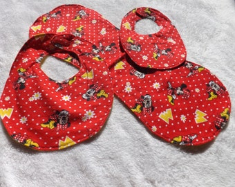 baby bib, newborn bib, and burp cloth made from Minnie Mouse in red with flowers flannel w/ various flannel backing making it reversible