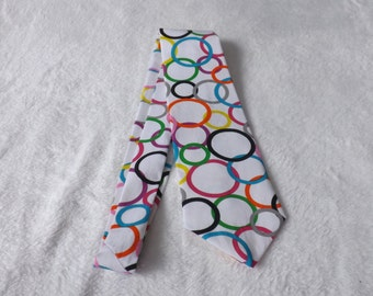 adult / Teen neck tie made from colorful spring circles on white background