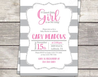 Girl baby shower invitation in gray stripes, pink, silver glitter, printable digital files