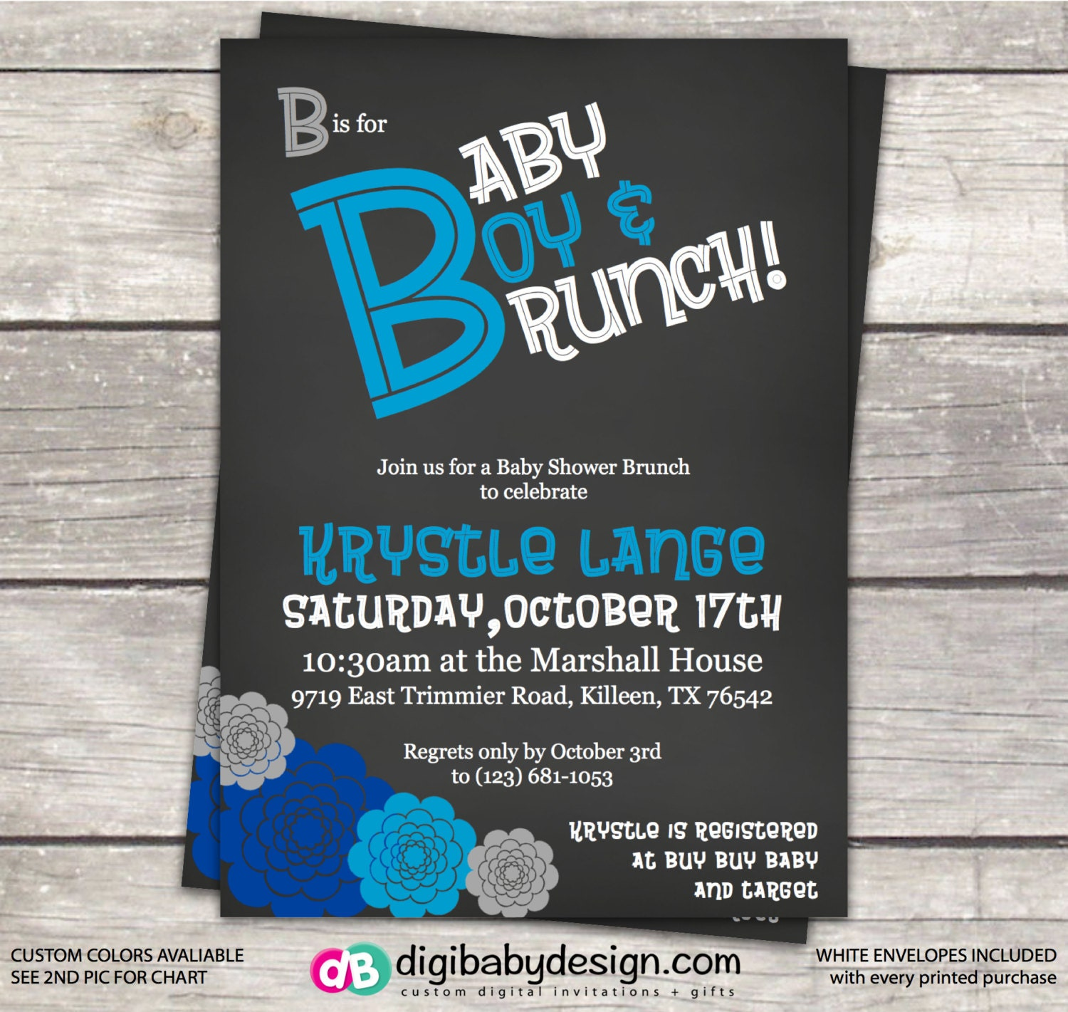 brunch baby shower invitation in chalkboard with blue flowers