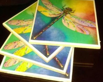 Hand Made DeCoupage Coaster Dragong Fly, Pooch Love, Princess and the Frog