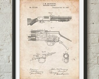 Winchester Model 1897 Shotgun, Browning, Shotgun, Hunting Decor, Duck Hunting, Police Officer Gift, PP1136