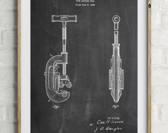Pipe Cutting Tool Patent Poster, Tool Art, Unique Dad Gift, Garage Decor, Plumber Gift, Man Cave, PP0986