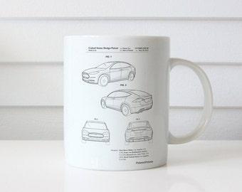 Tesla Model S Mug, Tesla Patent, Car Enthusiast, Electric Car, PP1093