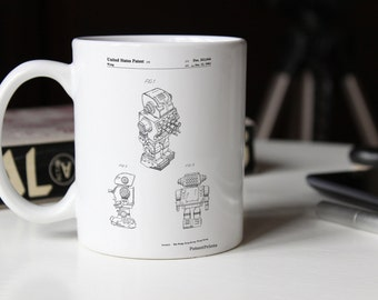 Dynamic Fighter Toy Robot 1982 Patent Mug, Play Room Mug, Robot Mug, 80's Toys, Game Room Decor, Retro Decor, PP0790