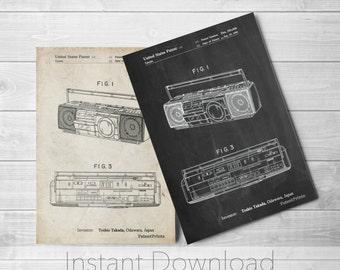 Boom Box Printables, Cassette Player, Cassette Recorder, CD Player, Boombox, Retro Radio, 80s Decor, PP0752