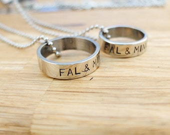 Personalized necklace, Personalized Ring-necklace