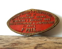 Vintage French metal sign, Award Plaque, red cast metal / French decor / French rustic decor/ French country home/ French Farmhouse/ Cottage