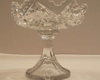 Vintage cut glass pedastal bowl