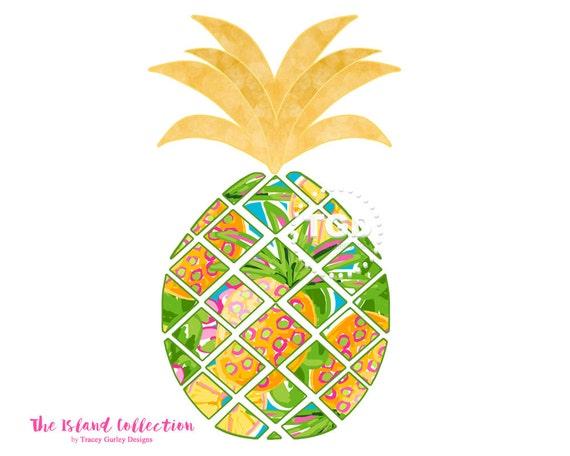 Preppy Pineapple clip art Original Art download whimsical