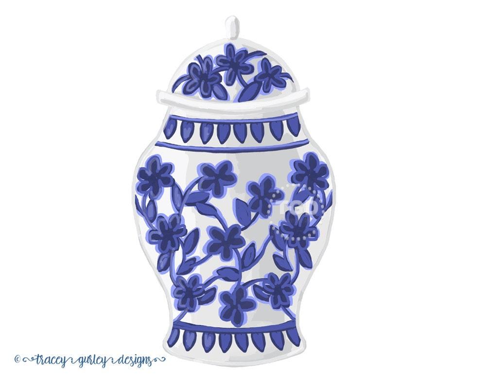 blue and white ginger jar clip art watercolor clipart. Black Bedroom Furniture Sets. Home Design Ideas