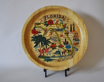 Vintage 1967-1973 Souvenir Florida State Bamboo Tray. Colorful Graphics. Kitsch. Hipster. Useful. Excellent Condition.