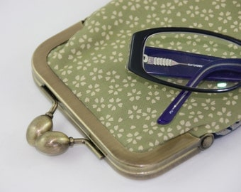 Olive & Navy Eye glass case/ Smartphone case/Sun glass case /hand made/ 20