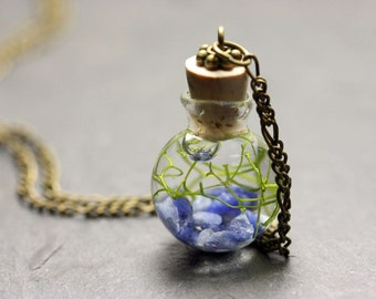 Seagrass chain Sodalite - real water plant - I