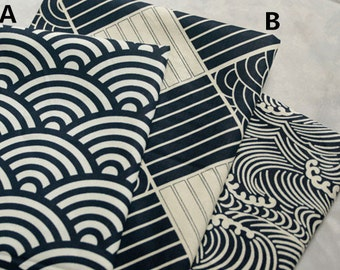 Three Types of Vintage Japanese Cotton Fabric with Black and White ,Wave Fabric for Bag Purse Cushion Cover YUkata Kimono ETC--Half Yard