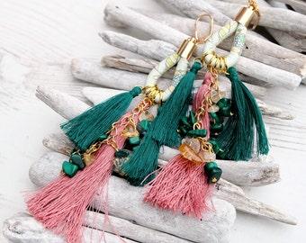 Long Multicolour Tassel Earrings-Beaded Dangle Earrings-Citrine Malachite Earrings-Gemstone Earrings-Pink Emerald Boho Hippie Earrings