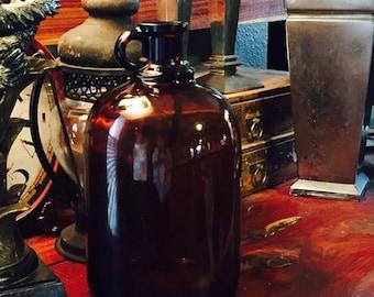 Large Amber Glass Bottle / Vintage Amber Bottle / Farm House Decor / Vintage Apothecary Bottle