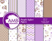 80%OFF Jungle Animals Digital Papers, Elephant, Lions, Pandas, Hippos, Monkeys,  scrapbook papers, commercial use, AMB-1210