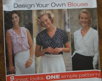 Simplicity 9872, size 6-10, misses, womens, blouses, tops, UNCUT sewing pattern, craft supplies