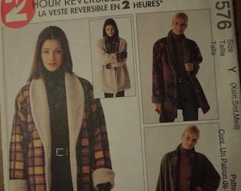 McCalls 9576, sizes Xsmall, small, medium, teens, womens, misses, UNCUT sewing pattern, craft supplies, reversible jacket