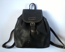 Vintage French 90's Blue Leather Rucksack/ Leather Backpack/ Leather Rucksack/ Vintage Blue Rucksack/ Blue Shoulder Bag Blue Leather Bag