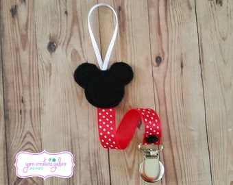 Feltie Mickey Pacifier Holder w/ Red Polka Dot Ribbon