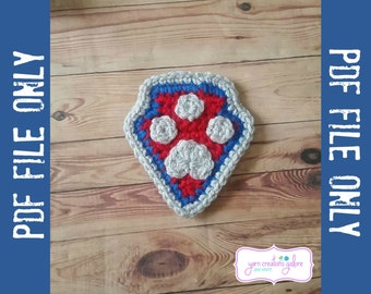 Crochet Paw Badge Pattern-- PDF FILE ONLY