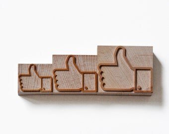 Letterpress Facebook  logo wood type - 3 pieces