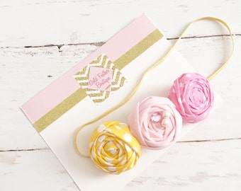 pink yellow rosette headband // pink lemonade summer easter headband // baby girl headband