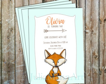 Woodland Baby Shower, Fox, Birth Announcement or Birthday Invitation,  Fox Digital Invitation, Fox Printable Invite