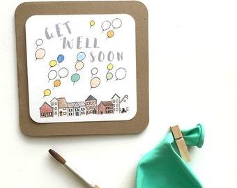 Get Well Soon Balloon Card