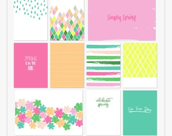Simply Spring - Printable journal cards for pocket and digital scrapbooking by Mira Designs