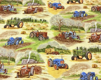 Patchwork Quilting Fabric Nutex In the Country - Tractors