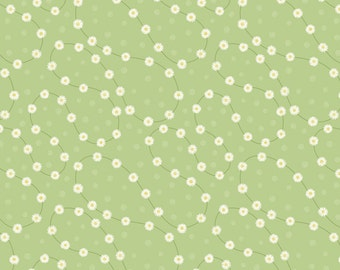 Lewis & Irene Patchwork Quilting Fabric Picnic in the Park A151.3 Daisy chain on Green