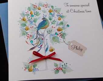 Handmade Personalised Partridge In A Pear Tree Christmas Card