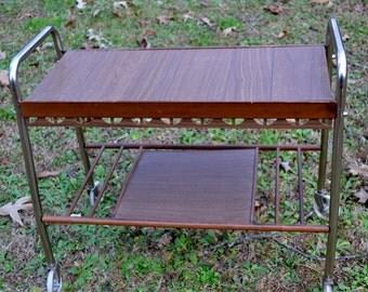 Vintage Rolling Cart Brown Wood Tone Chrome Modern Design Bar Cart TV Stand PanchosPorch