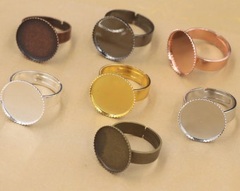 Round cabochon ring blanks settings, adjustable antique brass ring bases, supports des bagues fits 12,14,16,18,20,25,30mm cameos T5932