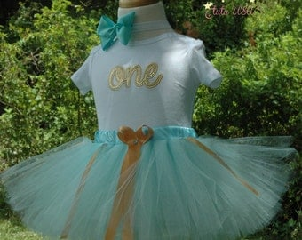 Blue and gold 1st birthday girl outfit, one year old girl, blue tutu,baby's first birthday,hand cut sewn at the waist, includes boutique bow