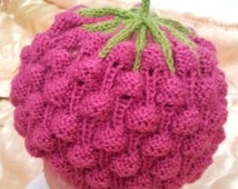 pink raspberry knitted hat for baby