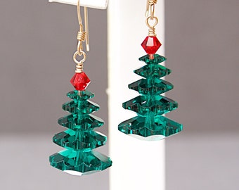 Christmas Tree Earrings with Green Swarovski Crystals - Holiday Gifts for Her