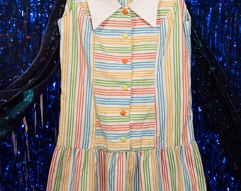 Vintage Candy Striped Drop-Waisted Floppy Collar Button-Up Sleeveless Mod Dress 1960s 60s M