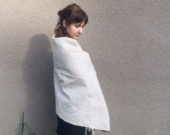 Natural LINEN Scarf Eco Scarf Women Scarf Summer Scarf Women linen scarf Beige scarf Flax scarf, Soft linen scarf Summer linen scarf