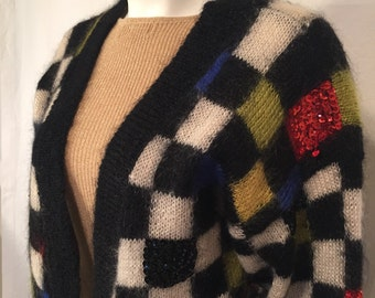 Vintage 80s Eighties Large L Cardigan with Black White Squares and Red Yellow Black White Sequins